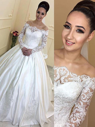 Ball Gown Long Sleeves Off-the-Shoulder Satin Court Train Wedding Dresses - onlybridals