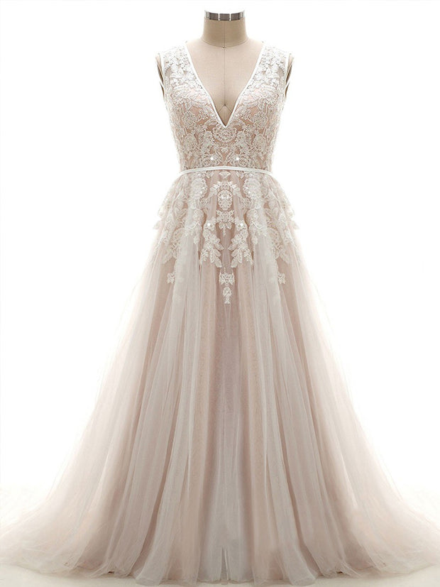 onlybridals Custom A-line V-neck Tulle Court Train Appliques Lace Open Back Wedding Dresses - onlybridals