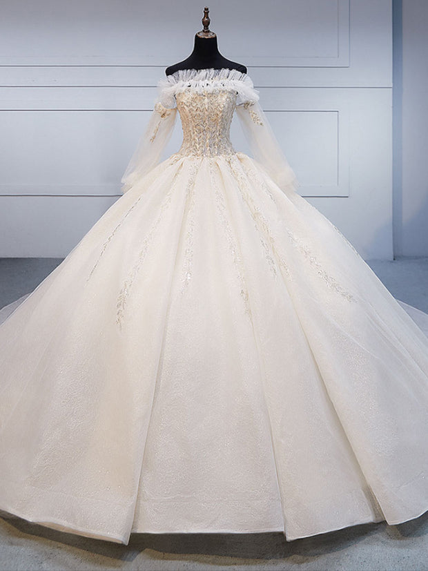 onlybridals Factory real Long Sleeves Lace Wedding Dress Ball Gown Off-the-shoulder - onlybridals