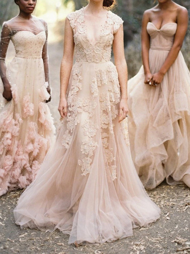 Elegant V Neck Sleeveless Lace Appliques Wedding Dresses Long Bridal Dresses - onlybridals