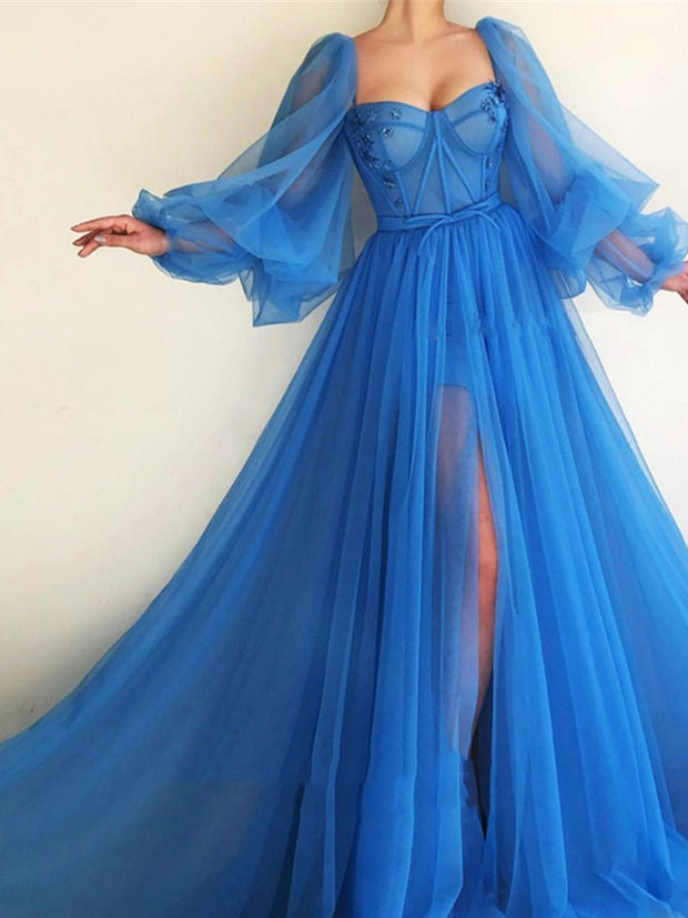 onlybridals  Princess Blue Prom Dresses Tulle Backless Long Sleeve Long Evening Gown Evening Party Dress Custom - onlybridals