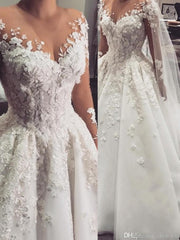 onlybridals A Line Wedding Dresses Sheer Jewel Neck Long Sleeves Lace Appliques 3D Flowers Beaded Plus Size - onlybridals