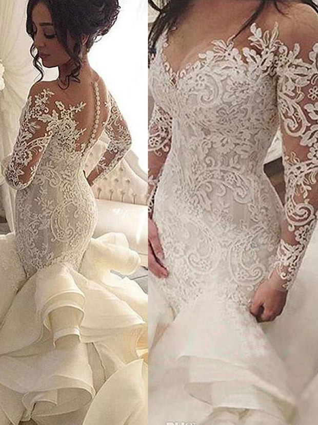 onlybridals Plus Size Organza Mermaid Wedding Dresses New Arrival Lace Long Sleeve Muslim Vestido De Noiva Romantic Appliques Ruffles Wedding Gowns - onlybridals