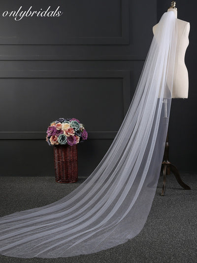 onlybridals 3 Meter Cut edge Bridal veil 2019 sluier wedding accessories Cathedral wedding veil with comb - onlybridals