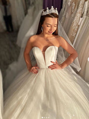 onlybridals Organza Frill Off-Shoulder Sequined Off-Shoulder Bridal Gown Sweeping Train Wedding Dress Custom Bride Vestidos - onlybridals
