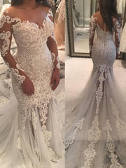 onlybridals Lace Wedding Dresses Mermaid V-neck Long Sleeves Appliques Wedding Gown Bridal Dresses - onlybridals