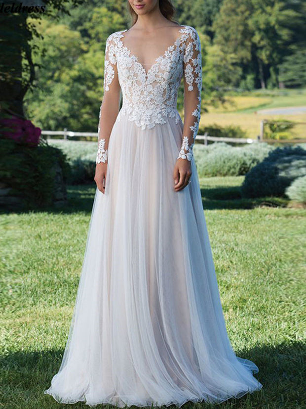 onlybridals Vestido De Noiva Long Sleeves Wedding Dresses 2019 Bohemian Backless Beach Bridal Gowns Bride Dress Robe De Mariee Cheap - onlybridals