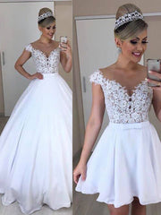 onlybridals A Line 2 In 1 Wedding Dresses Detachable Skirt Bridal Dress Bowknot Two Pieces Lace