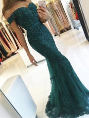 onlybridals Off Shoulder Formal Burgundy Gowns 2019 Lace Appliques Beaded Mermaid Long Emerald Green Tulle Robe De Soiree Bridesmaid Dresses - onlybridals