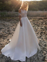 onlybridals High Neck Wedding Dresses Beach Boho A-Line Bridal Gowns Lace Sleeveless Custom - onlybridals