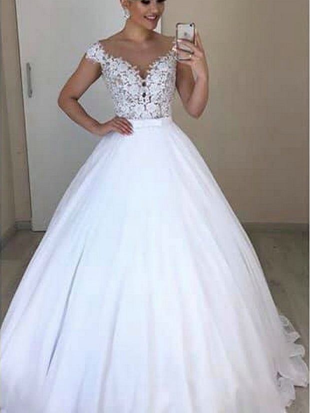 onlybridals A Line 2 In 1 Wedding Dresses Detachable Skirt Bridal Dress Bowknot Two Pieces Lace - onlybridals