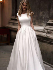 onlybridals Wedding Dresses With Pocket  Vestido de novia Satin White Sleeveless Bridal Gowns Floor Length Wedding Gown - onlybridals