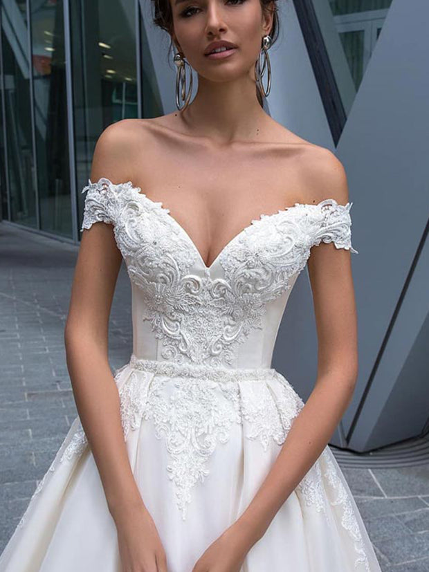 Ball gown off shoulder bridal gown wedding dress - onlybridals