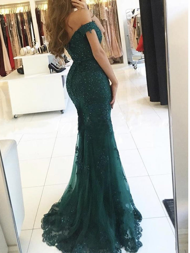 onlybridals Off Shoulder Formal Burgundy Gowns 2019 Lace Appliques Beaded Mermaid Long Emerald Green Tulle Robe De Soiree Bridesmaid Dresses