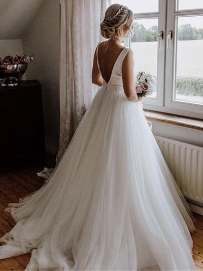onlybridals vintage Simple Wedding Dresses Backless Bow Satin Tulle O-Neck A-Line Bridal Gowns Bride Dress 2020 - onlybridals