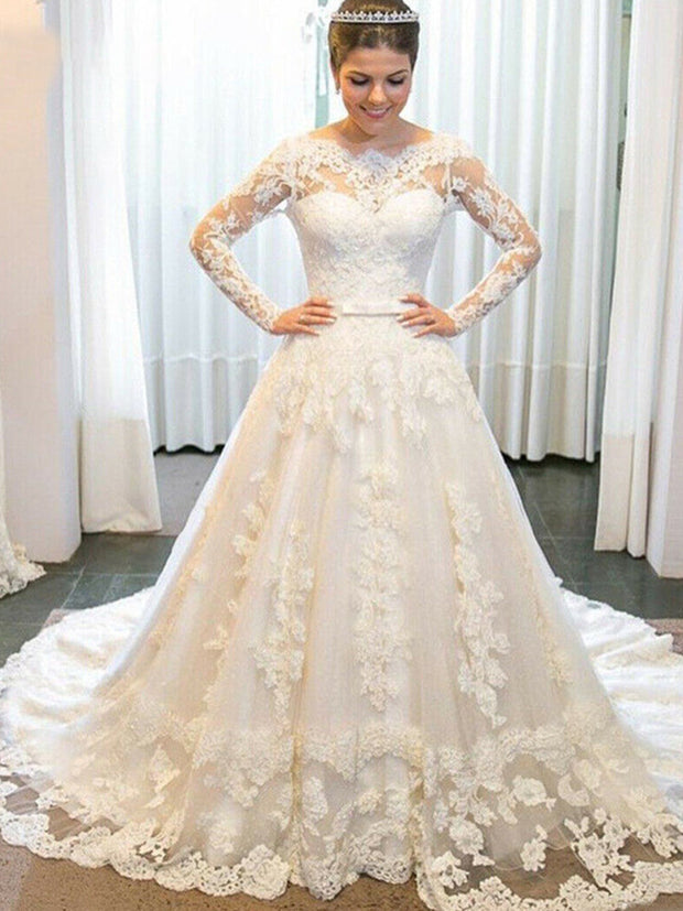 A-Line Long Sleeves Beads Appliques Tulle Sweep Train Bride Dress 2019 Bridal Gown Wedding Gown - onlybridals