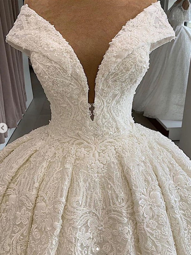 onlybridals  A-line Wedding Dresses Sheer Crew Neck Lace Appliques Beaded Vestios De Novia Bridal Gowns - onlybridals