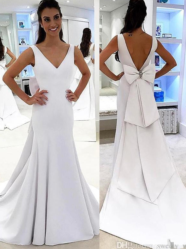 onlybridals Designed Pure White Simple Wedding Dresses Mermaid Backless Bridal Gowns with Big Bow Sash Romantic - onlybridals
