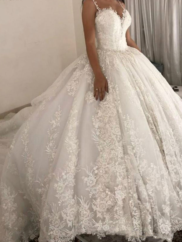 onlybridals Luxury Ball Gown Wedding Dresses Spaghetti Straps Lace Applique Wedding Gowns Sweep Train 2019 Bridal Dresse - onlybridals