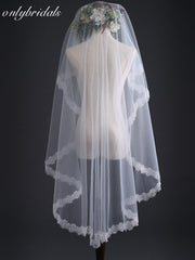 onlybridals Wedding Veil 1.5 meter Short Ivory White Bridal Veils Cheap - The Only Love Wedding Dress