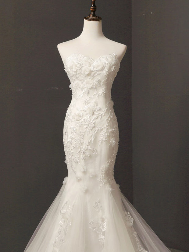 onlybridals Lace Appliques Satin Mermaid Wedding Dresses Illusion Sweetheart Sleeveless Bridal Gowns - onlybridals