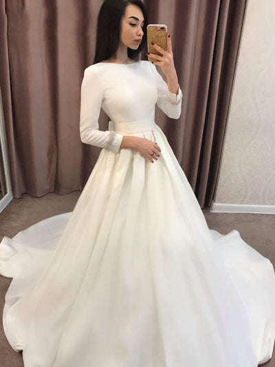 onlybridals Long Sleeve 2019 Wedding Dresses A-Line Satin Simple Turkey Wedding Gown Bridal Dresses Cheap mariage robe de mariage - onlybridals