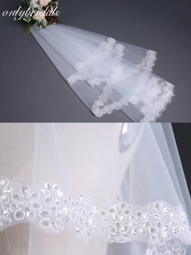 onlybridals Wedding Veil 1.5 meter Short Ivory White Bridal Veils Cheap - onlybridals