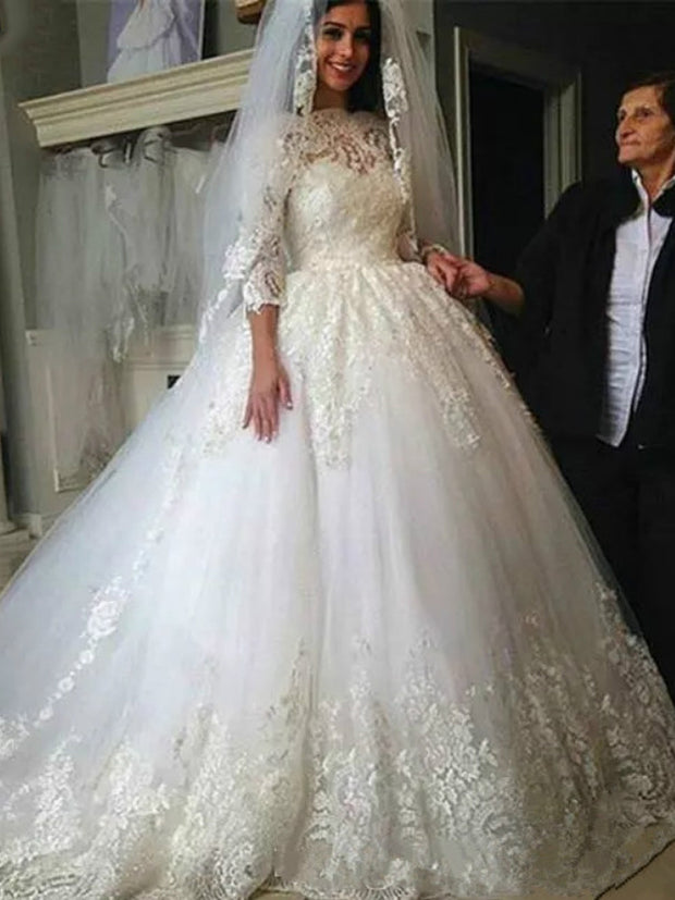 onlybridals Trouwjurk 2019 Lace Tulle Wedding Dresses Bridal Gowns Illusion 3/4 Sleeve Beaded Wedding Dress Robe De Mariee - onlybridals
