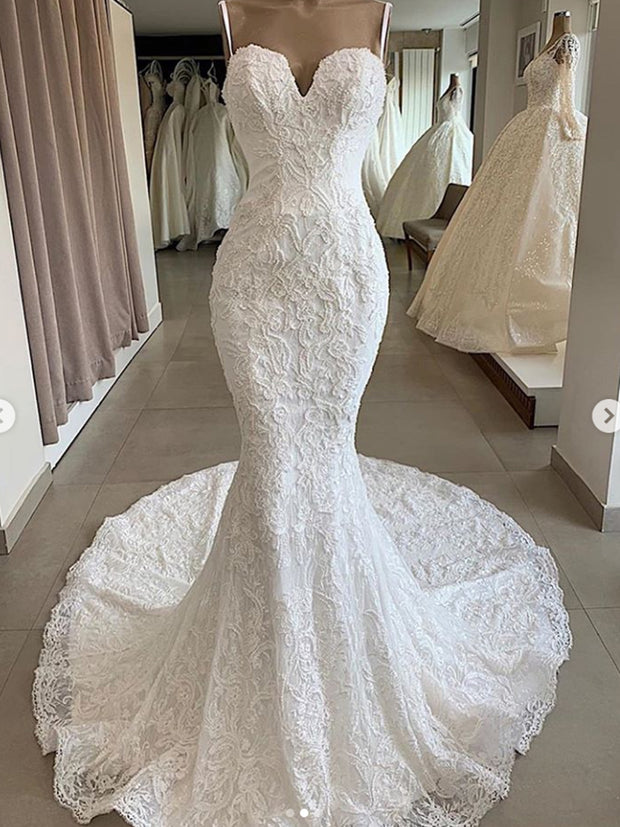 onlybridals Luxury Mermaid Lace Wedding Dresses 2019 Overskirt Applique  Bridal Gowns With Detachable Train vestidos de novia - onlybridals