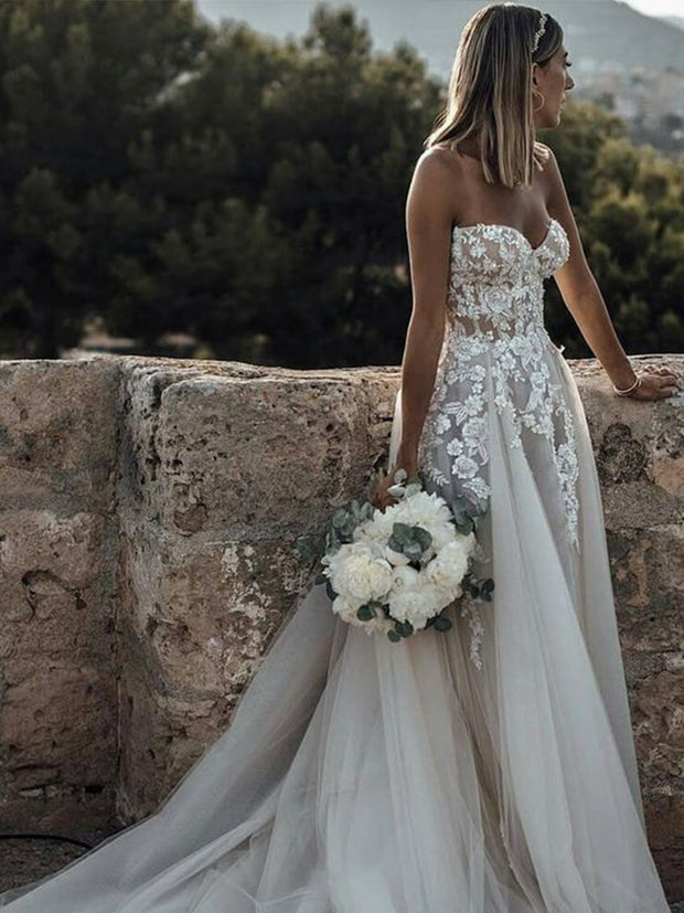 Sweetheart Neck Lace Rustic Wedding Dresses Long Tulle Beach Wedding Dress - onlybridals