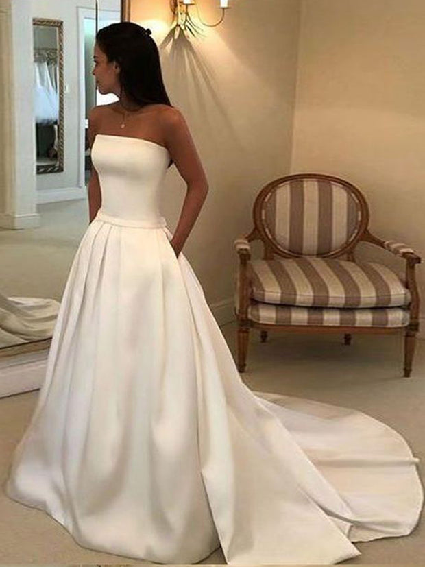 A-line Strapless Open Back Satin Ivory Wedding Dress with Pockets - onlybridals
