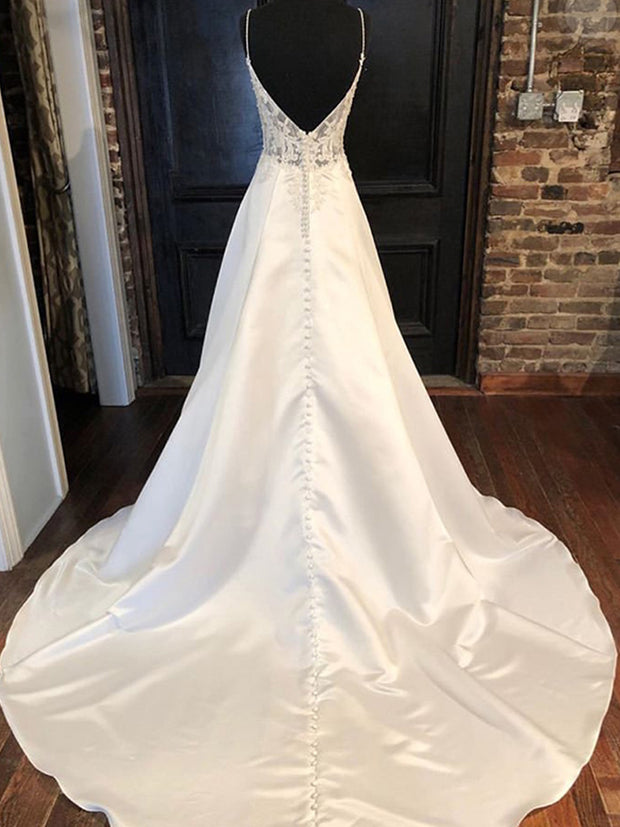 onlybridals Sweetheart Wedding Dress A-line Lace Top American Bridal Gowns Satin Bow Back Vestido De Novia Sweep Train Bridal Dress - onlybridals