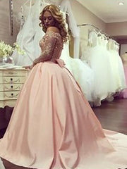 Ball Gown Long Sleeves Off-the-Shoulder Beading Satin Court Train Dresses - onlybridals