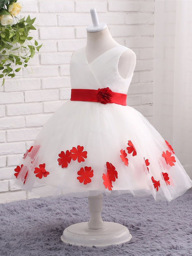 White Flower Girl Dresses for Weddings Flowers Tank V-Neck Bow Back First Communion Dresses Prom Dress