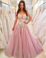 onlybridals Elegant Sexy Evening Party Dress Long  Plunging 3D Flowers Light Pink Formal Crystal Bling Prom Dresses Evening Gowns - onlybridals