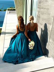 Blue Bridesmaid Long Wedding Guests Dresses with V-neckline - onlybridals