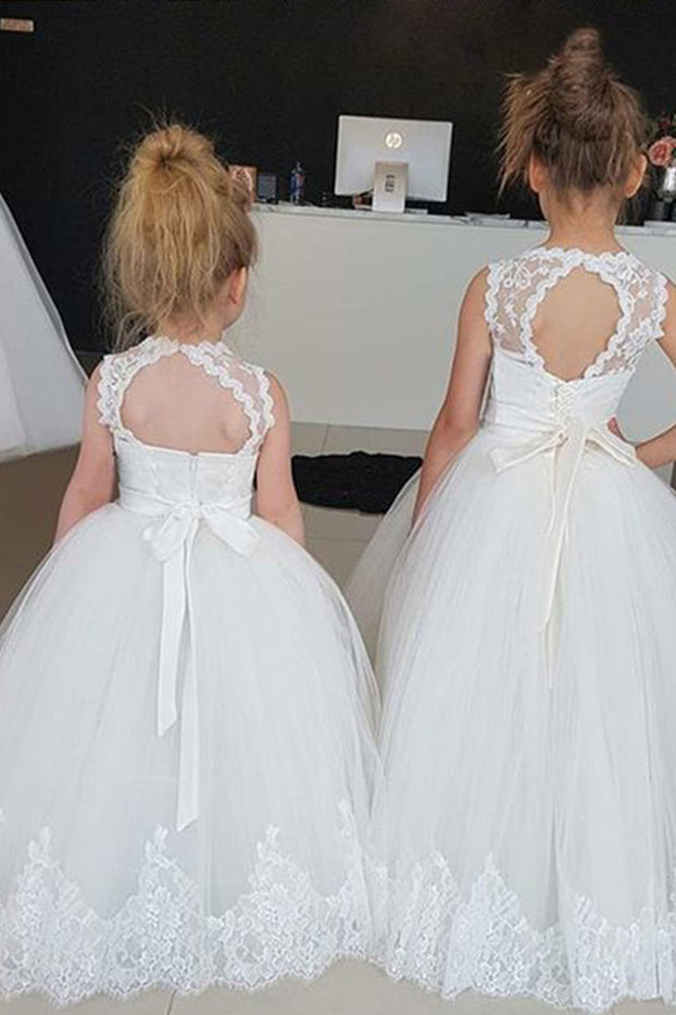 Lace Wedding Flower Girl Bridesmaid Party Dress Long