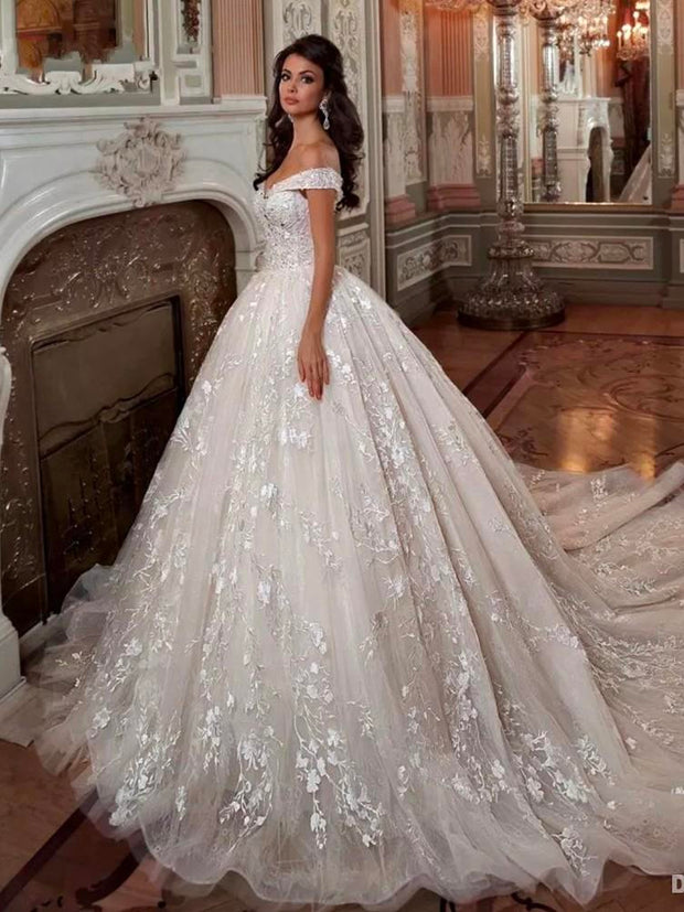 onlybridals Vintage Off The Shoulder Short Sleeve Wedding Dresses Beading Ball Gown  Plus Size 2020 Bridal Gowns