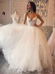onlybridals Spaghetti Straps White Tulle Long Wedding Dresses With Embroidery - onlybridals