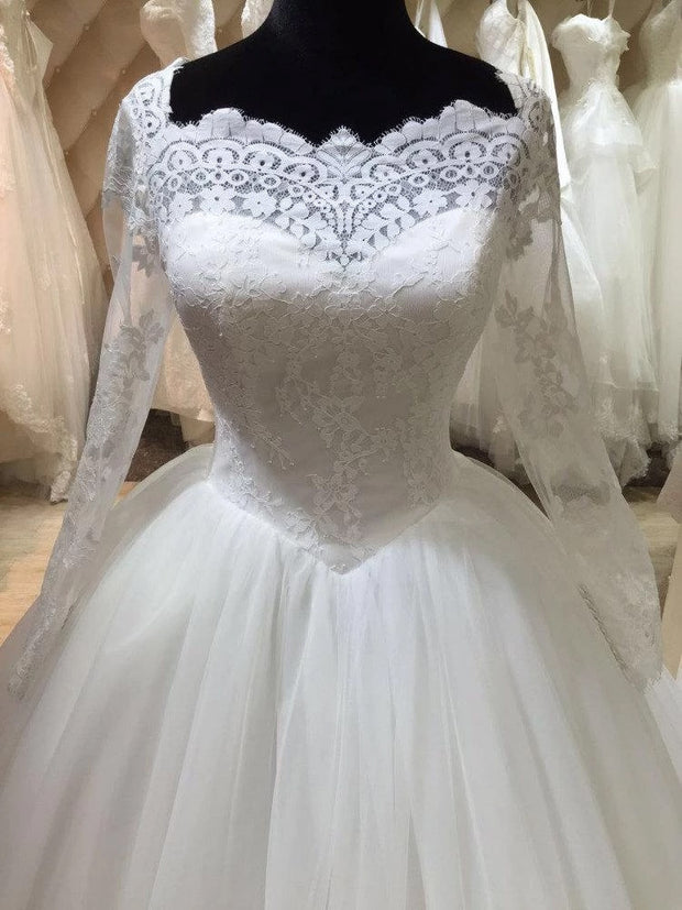 Only bridals Bateau Neck Long Illusion Sleeve Tulle Ball Gown With Lace wedding dress - onlybridals