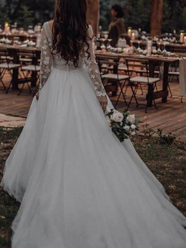 Long Sleeve Boho See Through Wedding Dresses Lace Applique - onlybridals