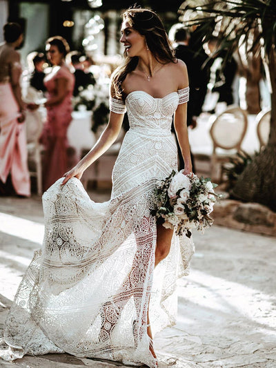 2019 New Arrival Champagne Mermaid Wedding Dress Full Beading - onlybridals