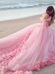 onlybridals Off The Shoulder Tulle Flower Wedding Dresses Ball Gowns - onlybridals