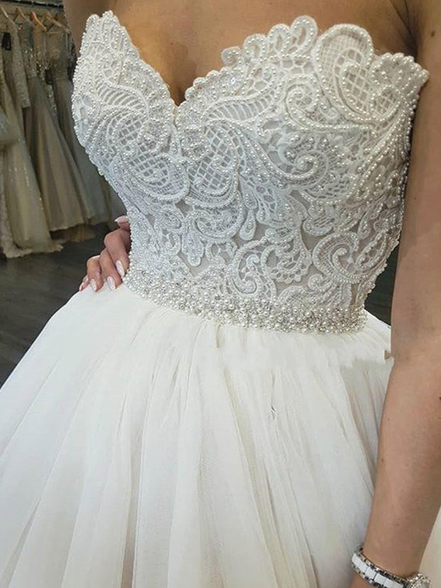 White Lace Appliques Ball Gown Wedding Dresses 2019 Sweetheart Beaded Princess - onlybridals