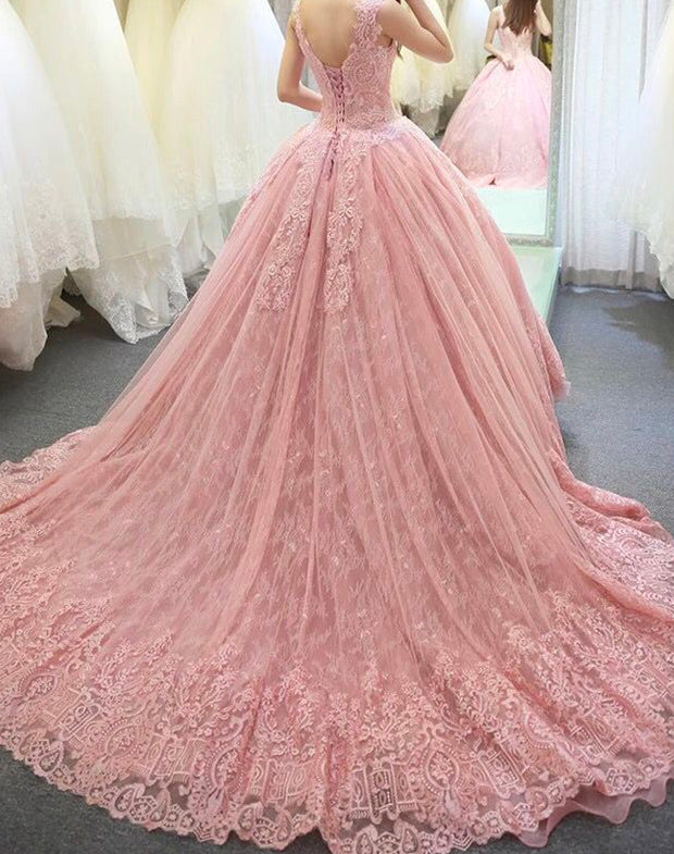onlybridals sleeveless pink wedding dresses lace applique floor length vestidos longos luxury princess wedding dres