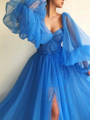 onlybridals  Princess Blue Prom Dresses Tulle Backless Long Sleeve Long Evening Gown Evening Party Dress Custom