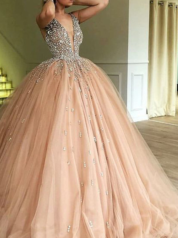 Ball Gown Deep V-Neck Sweep Train Champagne Tulle Prom Dress with Beading - onlybridals