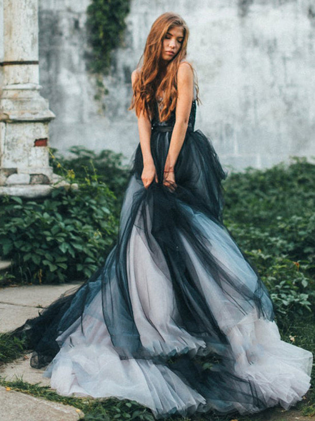 onlybridals Vintage A-Line Wedding Dress Colorful Tulle Bride Dress Scoop Neck Sleeveless Boho Black Wedding Gown vestido de noiva - onlybridals