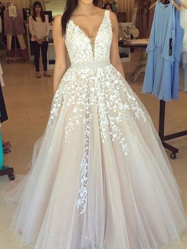 A-Line/Princess V-Neck Sleeveless Applique Tulle Sweep/Brush Train Wedding Dresses - The Only Love Wedding Dress