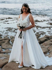 onlybridals  Beach Summer Outdoor Bridal Gown,V Neck Satin White Wedding Dress 2019,Ivory Bridal Gowns with Pockets - onlybridals